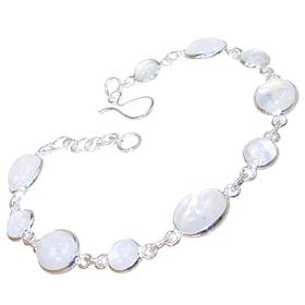 Rainbow Moonstone Sterling Silver Bracelet