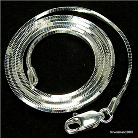 Gallant Square Snake Sterling Silver Chain 18 inches long