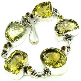 Genuine Citrine  925 Silver Bracelet
