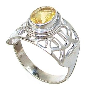 Sunny Citrine Quartz Sterling Silver Ring size P