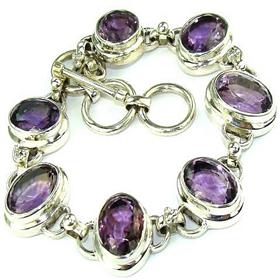 Purple Amethyst  925 Silver Bracelet