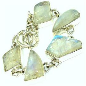 Rainbow Moonstone  925 Silver Bracelet