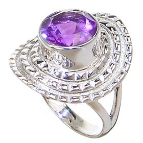 Delightful Amethyst Sterling Silver Ring size O