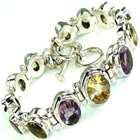 Garnet, Citrine, Topaz, Peridot, Amethyst  925 Silver Bracelet