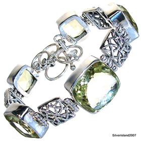 Fantastic Genuine Citrine Sterling Silver Bracelet. Silver Gemstone Bracelets.