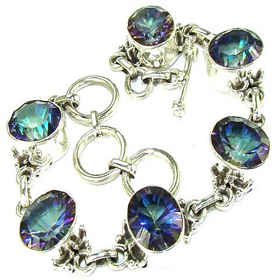 Incredible Mystic Topaz Sterling Silver Bracelet. Silver Gemstone Bracelets.