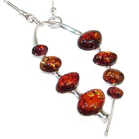 Very Unique Baltic Amber Sterling Silver Necklace 18 inches