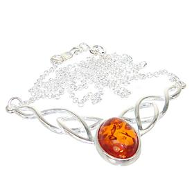 Baltic Amber Sterling Silver Necklace 15 inches