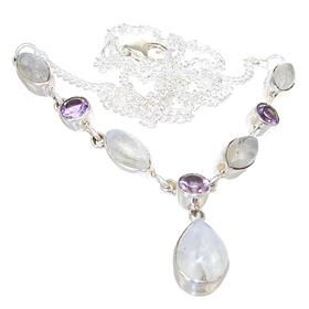 Elegant Moonstone Sterling Silver Necklace 19 inches