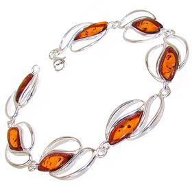 Unique Baltic Amber Sterling Silver Bracelet