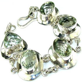 Incredible Design! Green Amethyst Sterling Silver Bracelet. Silver Gemstone Bracelets.