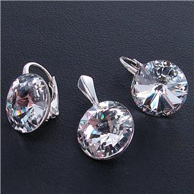 Swarovski Clear Crystal Sterling Silver Set