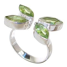 Fancy Peridot Sterling Silver Ring size N 1/2