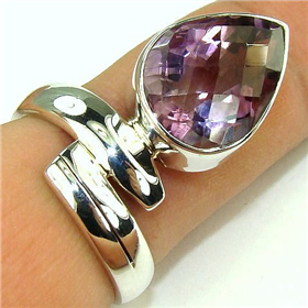 Genuine Amethyst Sterling Silver Ring. Silver Gemstone Ring.