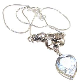 Fantastic White Topaz Sterling Silver Necklace 17 inches long