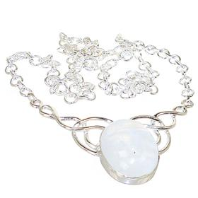 Elegant Moonstone Sterling Silver Necklace 16 inches long