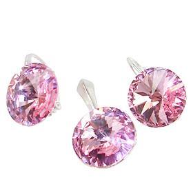 Pink Swarovski Sterling Silver Set
