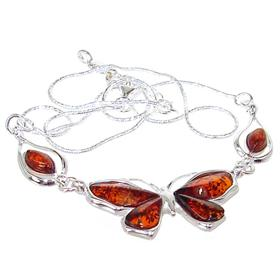 Baltic Amber Sterling Silver Necklace 17 inches long