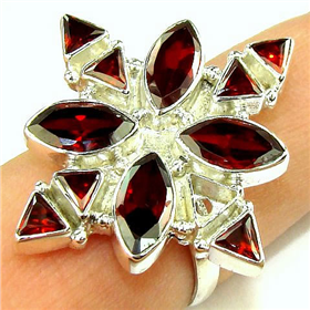 Stunning Cubic Zirconia Sterling Silver Ring. Silver Gemstone Ring.