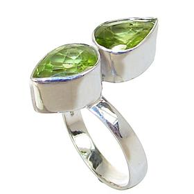Royal Peridot Sterling Silver Ring size P 1/2