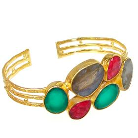 Multigem Brass 18ct Gold Plated Bangle