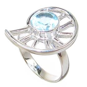 Blue Topaz Sterling Silver Ring size P