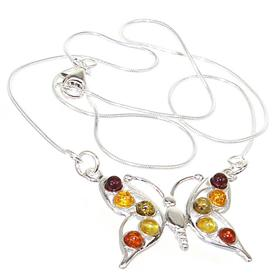 Baltic Amber Sterling Silver Necklace 16 inches long