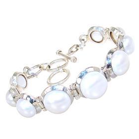 Elegant Pearls Sterling Silver Bracelet