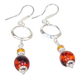 Large Baltic Amber Sterling Silver Earrings
