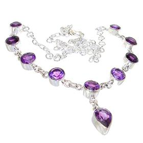 Chunky Royal Amethyst Sterling Silver Necklace 18 inches long