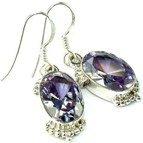 Finest Quality Cubic Zirconia Sterling Silver Earrings. Silver Gemstone Earrings.