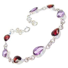 Gorgeous Amethyst Garnet Sterling Silver Bracelet