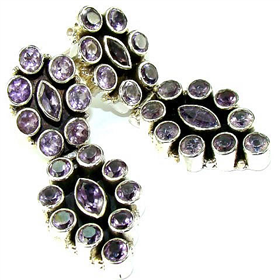 Terrific Genuine Amethyst Sterling Silver Earrings. Silver Gemstone Earrings.