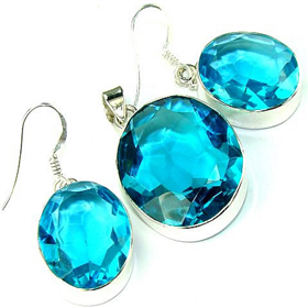 Finest Quality Blue Sky Quartz  925 Silver Set Jewellery