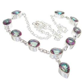 Wonderful Mystic Topaz Sterling Silver Necklace 19 inches long
