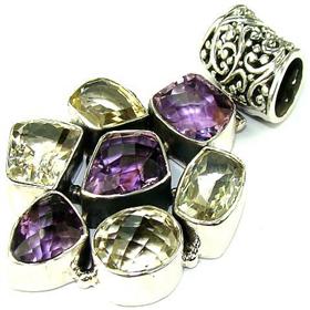 Massive Genuine Amethyst, Citrine Sterling Silver Pendant. Silver Gemstone Pendant.