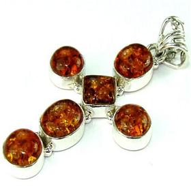 Honey Amber Cross Sterling Silver Pendant. Silver Gemstone Pendant.