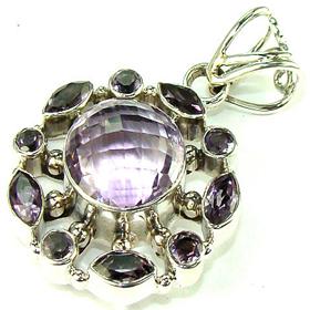 Stunning Amethyst Sterling Silver Pendant. Silver Gemstone Pendant.
