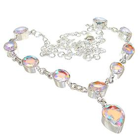 Madagascar Fire Quartz Sterling Silver Necklace 18 inches long