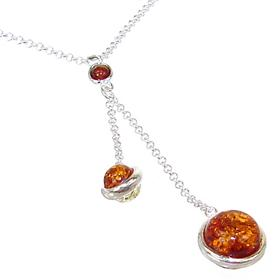 Very Unique Baltic Amber Sterling Silver Necklace 16 inches