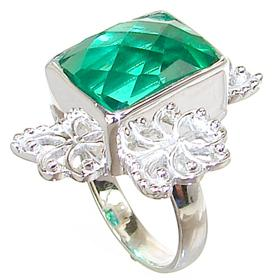 Large Green Quartz Sterling Silver Ring size P