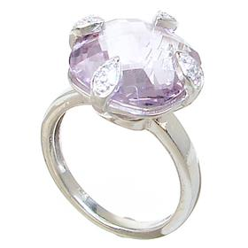 Chunky Amethyst Sterling Silver Ring size P 1/2