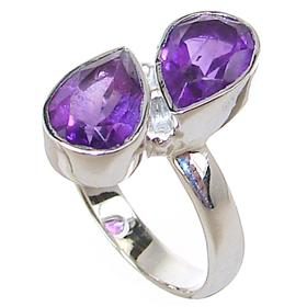 Delightful Amethyst Sterling Silver Ring size N 1/2