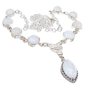 Chunky Moonstone Sterling Silver Necklace 20 inches