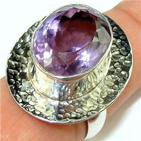 Amethyst Sterling Silver Ring. Silver Gemstone Ring.