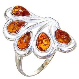 Baltic Amber Sterling Silver Ring size S