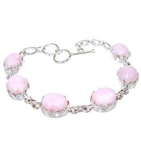 Rare Pink Opal Sterling Silver Bracelet