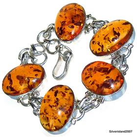 Amber Sterling Silver Bracelet. Silver Gemstone Bracelets.