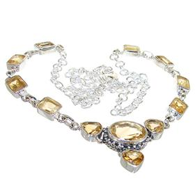 Chunky Citrine Sterling Silver Necklace 21 inches Long