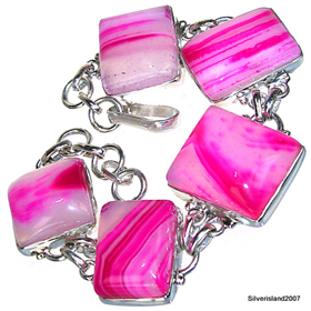 Botswana Agate Sterling Silver Bracelet. Silver Gemstone Bracelets.
